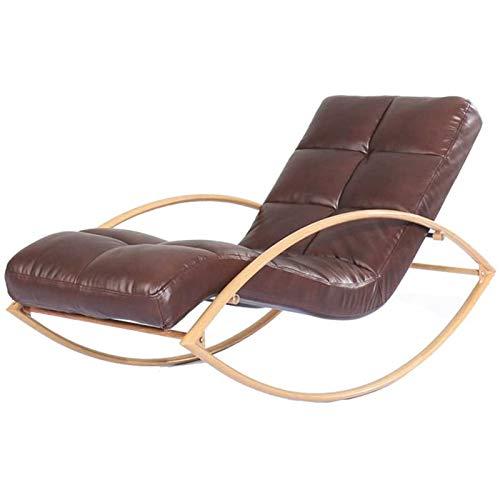 SHUILV Sillón de Cuero Simple Silla Mecedora, Metal Lazy Sofa Lounge Terraza Sillón reclinable (Color: Múltiples Colores Disponibles) (Color : Brown)