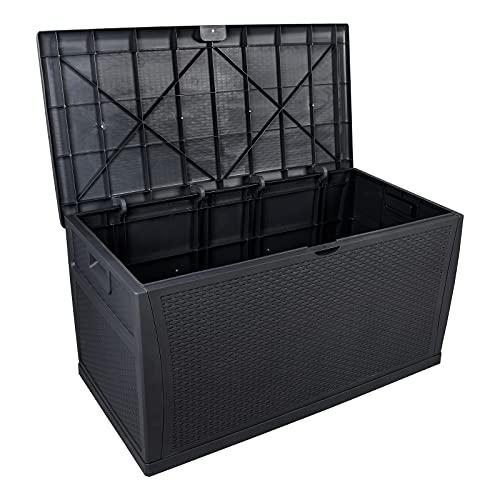 YIERMA Caja de almacenamiento de jardín 460L 120cm de largo al aire libre de entrada tronco Baúl Banco Caja de resina Muebles con cerradura impermeable (negro)