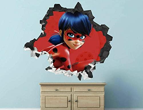 HQQPA Etiqueta de la pared 3D Smashed Wall Decal Gráfico Personajes de dibujos animados cara tatuajes de pared pegatinas mural decoración del hogar para el arte del dormitorio