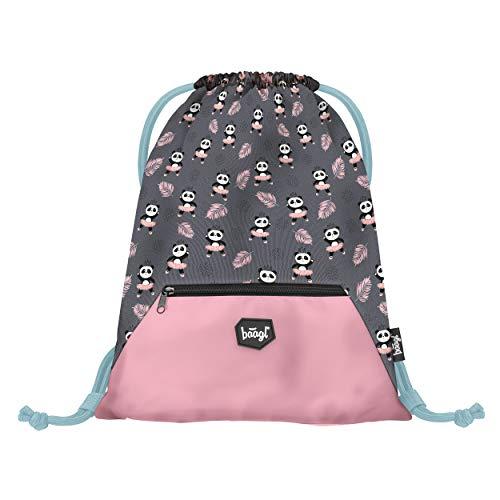 Baagl Turnbeutel für Mädchen - wasserdichte Schuhbeutel für Kinder - Schule und Kindergarten Sportbeutel, Sportsack (Panda)