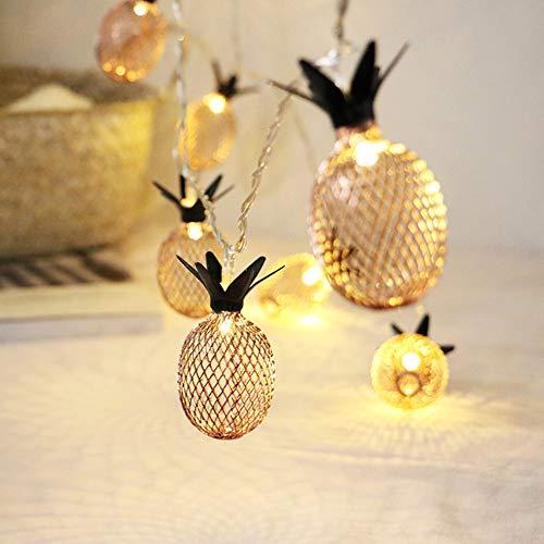 Meccion LED-Lichterkette mit 20 goldfarbenen Ananas, batteriebetrieben, 3 m