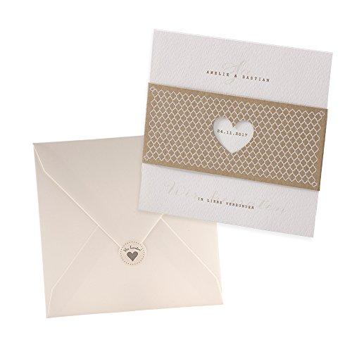 Weddix Vintage Einladungskarten Elli für die Hochzeit, Kraftpapier mit Herz, 3 Stück - blanko Hochzeitseinladungen mit Umschlag Siegeletiketten