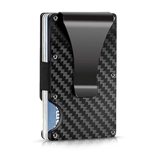 Kreditkartenetui mit Geldklammer, Kartenetui RFID NFC Schutz, Kohlefaser, Platz für 12 Karten Plus Bargeld, Klein und leicht, Dauerhafte Qualität, Mini Geldbörse Herren (Schwarz)