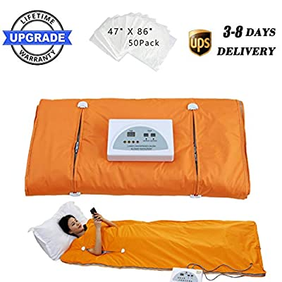 Sauna Blanket Far-Infrared(FIR) for Weight Loss with Remote Control Body Steamer Blanket Waterproof Heat Sauna Blanket Professional Detox Therapy Beauty Machine Slimming Fitness Anti Ageing.