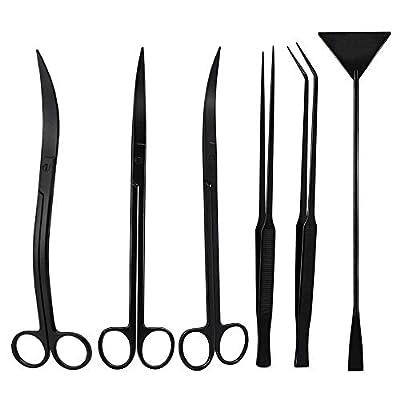 Aquarium Werkzeugset, Wasserpflanze 6 In 1 Pinzette Schere Spatel Gepflanzt Aquarium Reinigung Werkzeuge Einstellen & Fisch Anlasser Kit