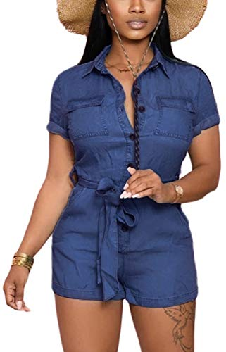 LaiyiVic Denim Rompers for Women Summer Sexy Elegant Stretch Jumpsuits Loose Jumpsuits