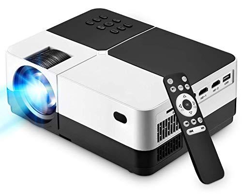 JASZW Video-Projektor, 4000 Lumen Tragbare HD Filmprojektor mit 50.000 Stunden LED-Lampen-Lebensdauer, kompatibel mit TV-Stick, PS4, HDMI, VGA, TF, AV- und USB