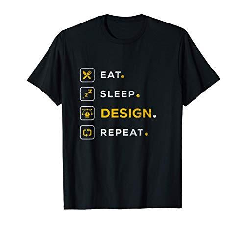 Funny Christmas Graphic Designer Gift Eat Sleep Design Maglietta
