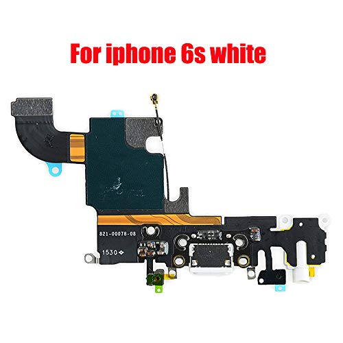 """Afeax Compatible with OEM USB Charging Port Dock Connector Flex Cable Lighting Connector + Microphone + Headphone Audio Jack Replacement for iPhone 6S 4.7""""(White for Silver/Gold/Rose Gold"""