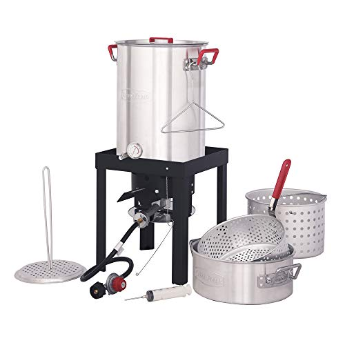 CreoleFeast TFS3010 Propane 30 Qt. Turkey and 10 Qt. Fish Fryer Boiler Steamer Set, 50,000 BTU Burner, Ideal for Outdoor Cooking