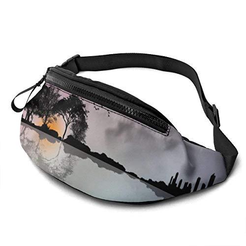 FengLiuAiShuaiGe Lässige Taschen Gitarre Wald Silhouette Gürteltasche Mode Taille Tasche,