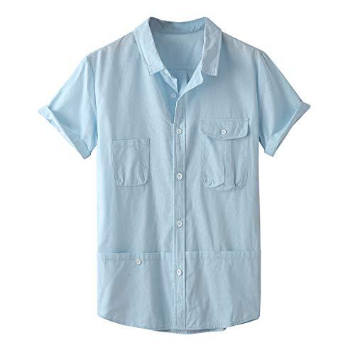 SoonerQuicker Camisa de Hombre Blusa Superior de Manga Corta de Color Puro con Bolsillo de Solapa de Moda para Hombre de Verano(Azul XXL)