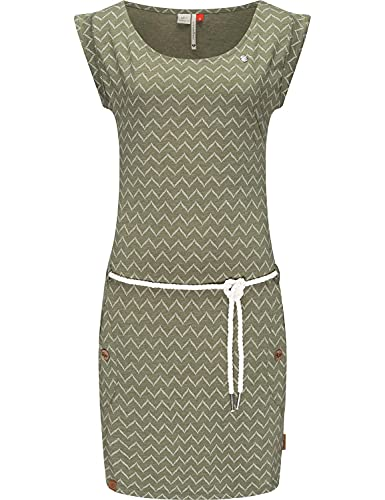 Ragwear Damen Baumwollkleid Jerseykleid Sommerkleid Strandkleid Tag Zig Zag Olive21 Gr. M