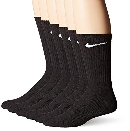 NIKE Dri-Fit Training Cotton Cushioned Crew Socks 6 PAIR Black with White Signature Swoosh Logo) LARGE 8-12