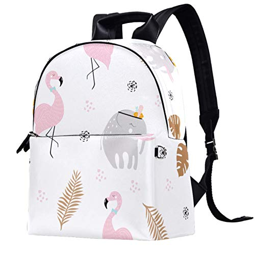 Leather Backpack Lightweight Travel Daypack Student Backpack - School, Travel, or Work Bookbag ,Beautiful flamingo