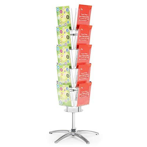 DISPLAY SALES Boden-Prospektständer Multiside 20 x DIN A4 drehbarer 4-seitiger Prospekthalter mit glasklaren Acrylfächern