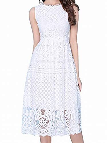 VEIISAR Womens Fashion Sleeveless Lace Fit Flare Elegant Cocktail Party Dress (XX-Large, L0201White)