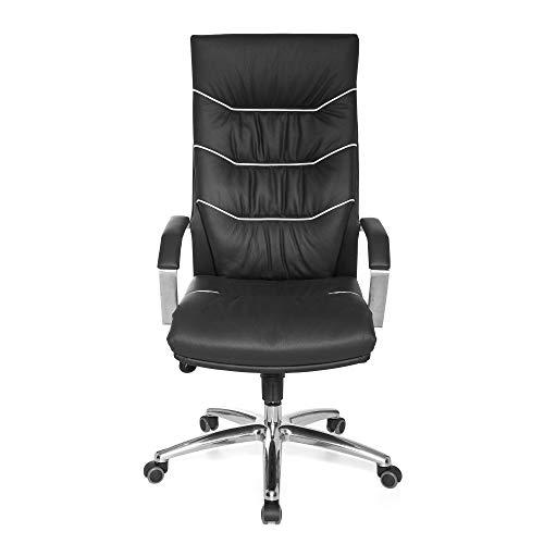 FineBuy Bürostuhl Ferry Echt-Leder schwarz Schreibtischstuhl | Chefsessel mit Kopfstütze & Multiblockmechanik | Design Drehstuhl verstellbar | Schreibtisch-Stuhl hohe Rückenlehne