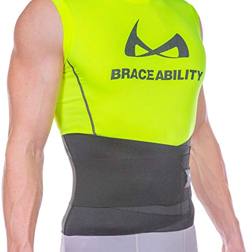 BraceAbility Elastic & Neoprene Compression Back Brace | Lumbar, Waist and Hip Support Belt for Sciatica Nerve Pain, Low Back Ache & Pain Relief while Sleeping, Working, Exercising, Walking (XL)