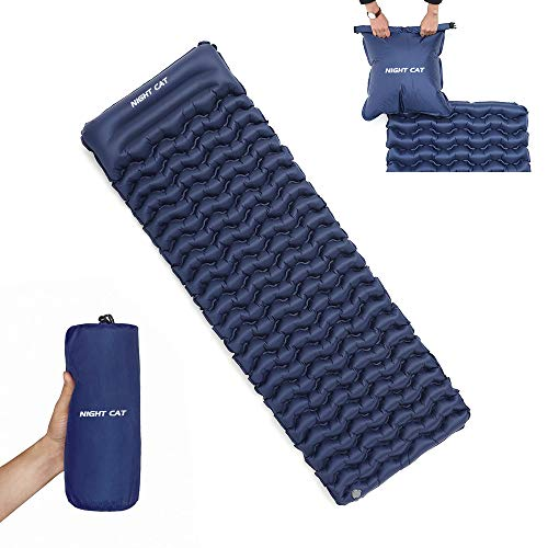 """Night Cat Inflatable Sleeping Pad Mat Bed with Pillow and Air Bag for Camping, Backpacking Hiking; Ultra-Light, Compact, Comfortable, 75""""x25"""""""