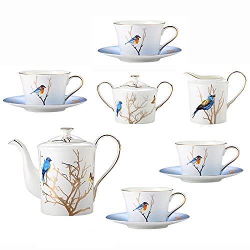 Tetera japonesa, Piezas Sistema de té de porcelana Cerámica Flor de cerámica y pájaro Tea de té de la tarde británica Taza de té con platillo Sugar Cowler Crema Jarra Jarra Coffee Coffee Spoons Caja d