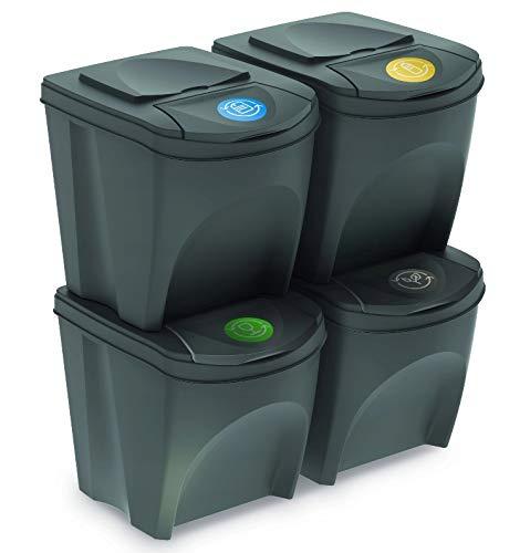 Mülleimer Abfalleimer Mülltrennsystem 100L - 4x25L Behälter Sorti Box Müllsortierer 3 Farben von rg-vertrieb (Anthrazit)