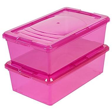 IRIS 6 Quart Modular Storage Box, 10 Pack, Pink