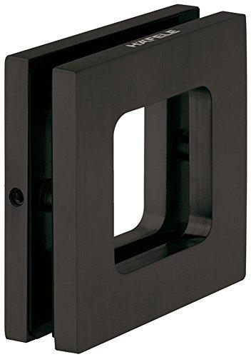 Design Möbelgriff Edelstahl schwarz Glastürgriff zum Schrauben Muschelgriff eckig für Glastüren & Zimmertüren - AMBRA | Griffmuschel zum Aufkleben | 70 x 70 x 10 mm | 1 Stück - Schiebetürgriff Glas