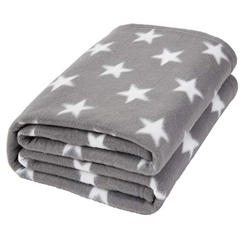 Dreamscene Flannel Fleece Stars Throw Over Bed Warm Soft Blanket Plush for Baby Kids Sofa, Silver Grey, 125 x 150cm
