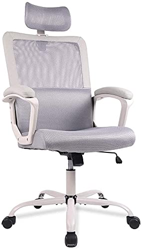 Office Chair, Ergonomic Mesh Home Office Computer Chair with Lumbar Support/Adjustable Headrest/Armrest and Wheels/Mesh High Back/Swivel Rolling (Grey)