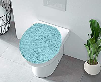 LuxUrux Toilet Lid Cover, Extra-Soft Plush Seat Cloud Washable Shaggy Microfiber Standard Toilet Lid Covers for Bathroom Machine Wash & Dry. (19 x 21 inches, Spa Blue)