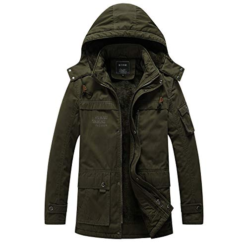 LABEYZON Men's Outdoor Cotton Military Fleece Jacket Parka Tactical Winter Coats for Men Removable Hood (Army Green M)