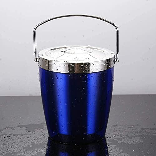 ZHUANYIYI Cubo de Hielo, Acero Inoxidable Espesa Cubo de Vino con asa de Tapa, Enfriador de Vino de Champagne Aislado, para Barra de Fiesta al Aire Libre (Color : Azul)