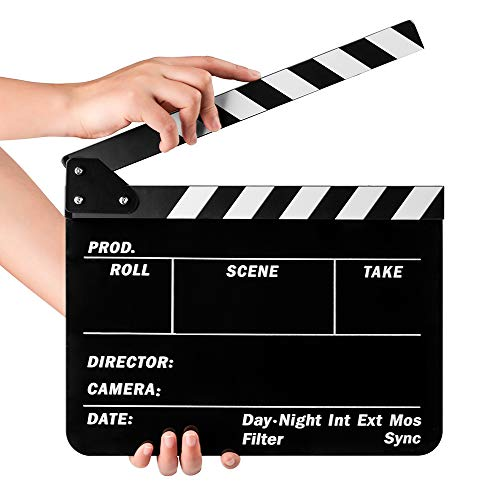 Fotover Video Szene Clapperboard Movie Filmklappe Dry Erase Slate for Director Film Movie Cut Action,Schwarz