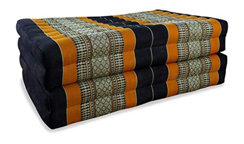 livasia Kapok Klappmatratze, Faltmatratze der Marke Asia Wohnstudio, optimal als Gästematratze oder Gästebett geeignet, (schwarz/orange)