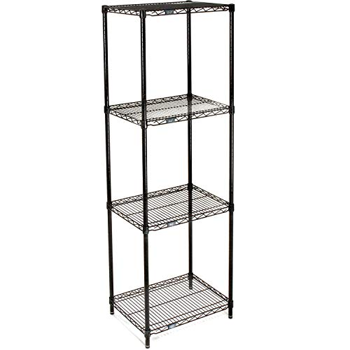 """Nexel Adjustable Wire Shelving Unit, 4 Tier, NSF Listed Commercial Storage Rack, 18"""" x 24"""" x 74"""", Black Epoxy"""