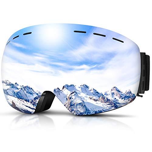 DADA-PRO Skibrille, Herren Damen Snowboardbrille Erwachsene über Gläser OTG rahmenlose für Ski Anti-Fog, UV-Schutz Sonnenbrille (Silber (VLT 23%))
