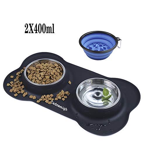 Cadosoigh Ciotole per Cani Gatti in Acciaio Inox con Tappetino Silicone Antiscivolo (2 * 12 oz, 2 * 400ml/ciotola)