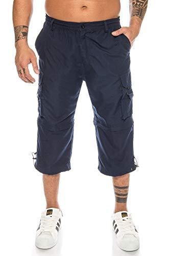 Kendindza Bermuda pour homme avec jambes amovibles et fermeture éclair 3/4 - Bleu - 3XL