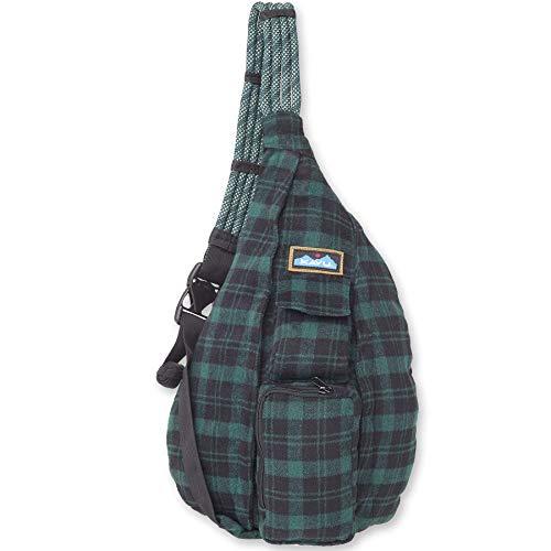 KAVU Plaid Rope Sling Bag Crossbody Backpack with Adjustable Shoulder Strap - Hunter