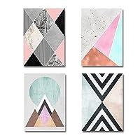 ヴィンテージポスター抽象的な幾何学的な壁アートプリントキャンバス絵画オフィスリビングルームの写真家の装飾40X60cmX4フレームレス