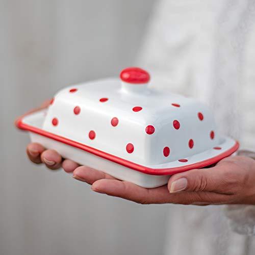 City to Cottage Beurrier blanc à pois rouges en céramique fait et peint à la main