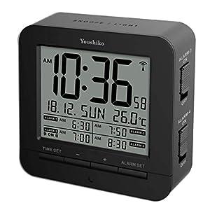 Youshiko Digital Radio Controlled ( Official UK & Ireland Version) Alarm Clock with 4 Alarm Times & Automatic backlight with light sensor