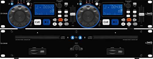 IMG Stageline CD-230USB DJ Dual-CD und MP3-Spieler mit USB 2.0-Schnittstelle, Cinch-Anschlüsse und SD/MMC Card-Slot, in Schwarz