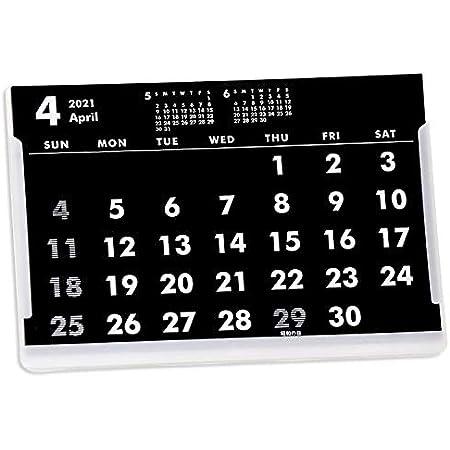 4月始まりポストカードサイズ卓上カレンダー(ブラック&ホワイト)