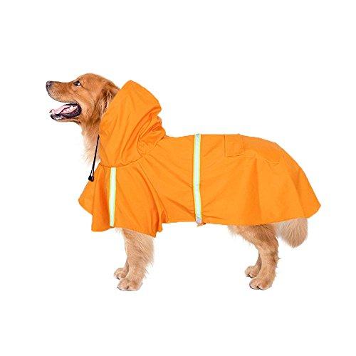 Myconvoy Hundebekleidung Regenmantel Wasserdicht Regensjacke Hunderegenmantel Dog Raincoat Reflektierende Streifen Pet Streifen Hundemantel,Geeignet für große, mittlere und kleine Hunde (5XL, Orange)