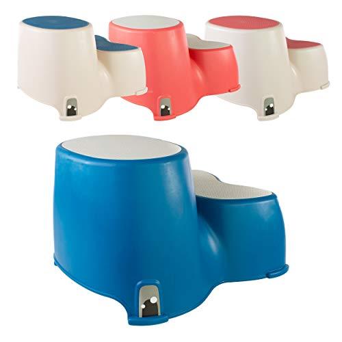Toilettenhocker - WC-Stufen für Kleinkinder - Der freundliche Wal Kleinkind-Stufenwal - Kinder-Doppelstufenhocker - Lustiges Bad-WC-Training von Luvdbaby (Meeresblau Neutrales)