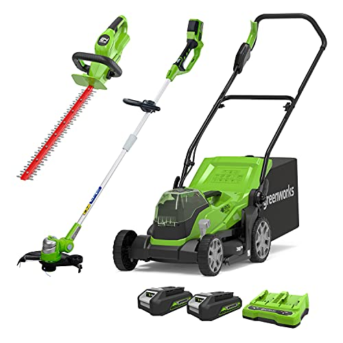 Greenworks 2x24 V 36 cm Mower, 24 V Trimmer, 24 V Cordless Hedge Trimmer Combo Kit Include 2x2 Ah Battery and Dual Slot Charger