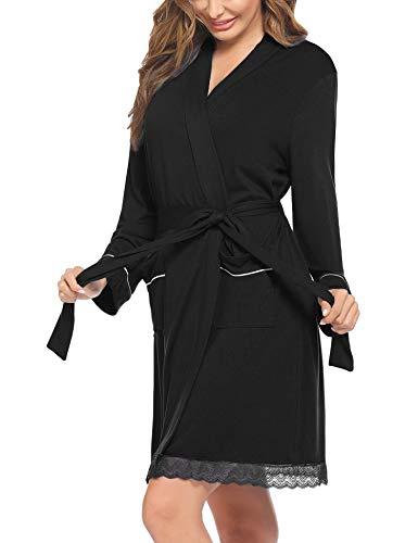 Hotouch Morgenmantel Damen Leicht Bademantel Kimono Kurz Negligee Kimono mit Taschen V Ausschnitt Saunamantel Loungewear Schwarz L