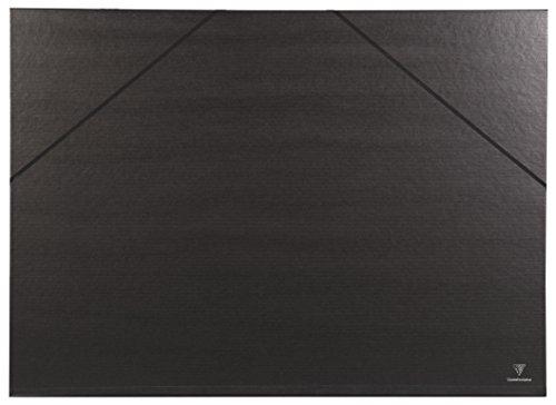 Clairefontaine Kraft Verge 44500C - Carpeta de dibujo con gomas (lomo 30 mm, interior 50 x 70 cm, exterior 52 x 72 cm), color negro